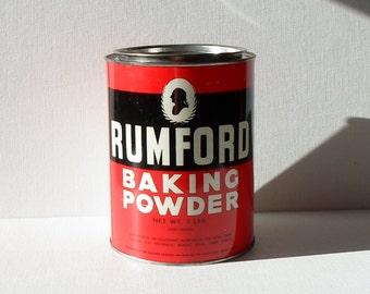 """Vintage Rumford Baking Powder Large Collectibles Tin 7"""" H x 5 1/2"""" W"""