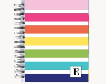Monthly PlanBook Planner – Personalized | Monthly Calendar | Notebook | To Do List | Bound | Family | Academic | Rainbow Stripe