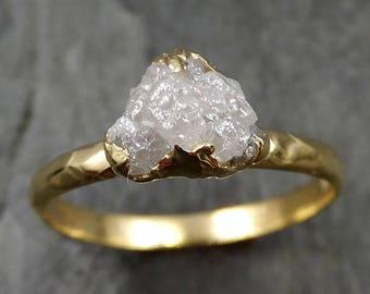18k Raw Diamond Engagement Ring Rough Gold Wedding Ring diamond Wedding Ring Rough Diamond Ring 0471