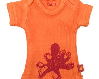 Sasha Doll & MSD sized T-Shirt - Orange with red octopus