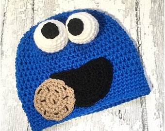 MADE to ORDER, Crochet Cookie Monster hat, Newborn to Large Adult sizing