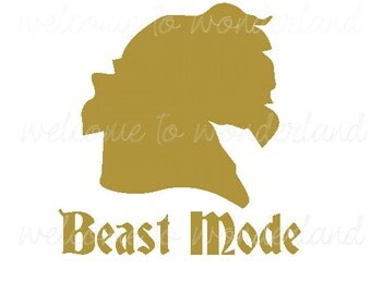 DIY BEAST MODE Beauty and the Beast Solid color Iron On Decal Custom Color Baby Boys Girls Men Women Adult