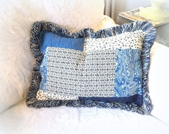Weighted Therapy Pillow - Quilted Blue & White Comfort