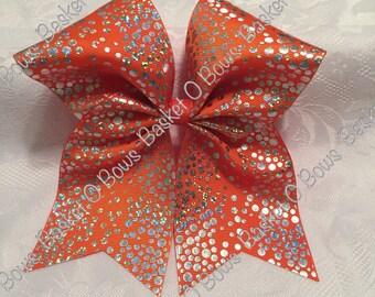 TORRID ORANGE Hologram Dots Hair Bow ~ Size Huge Large Big Texas Style ~ Softball/Volleyball/Cheer/Soccer/Bowling/Gymnastics/Dance/Team~ MTO