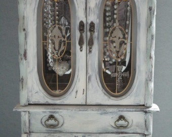 Jewelry armoire etsy for Juno vintage modern jewelry armoire