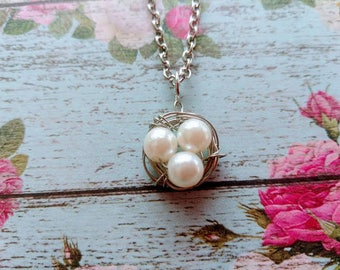 Bird Nest Necklace- Mother's Day Jewelry - Mom Necklace