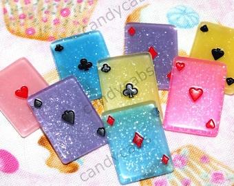 CandyCabsUK 4 x Playing Cards Joke Magic Poker Resin Cabochons DIY MIX Kit Decoden Flatback Cabochons Craft DIY Kit