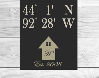 Latitude Longitude Home Monogram printable artwork