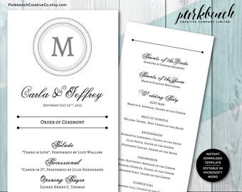 Wedding Program template, order of ceremony program, wedding programs, wedding printable editable program, custom program, printable    1400