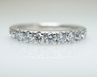 Vintage 1.08CTW Diamond Wedding Band Anniversary Ring Wedding Ring Vintage Wedding Band White Gold