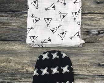 Teepee swaddle set/ Teepee blanket/ Teepee blanket set/ Baby gift set/ Swaddle set/ Baby shower gift/ Boy swaddle set/ Newborn swaddle set