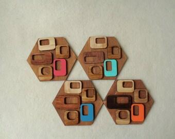 Mid century modern Coasters, Hexagon wood Coasters, Hexagon Drink Coasters, Geometric Coasters, Handpainted Wooden Coasters