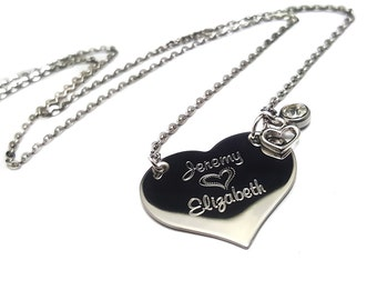 Gifts for Her + Couples Heart Name Necklace + Gifts for her + Engraved Jewelry + Name Heart Necklace  + Valentine's Day Jewelry