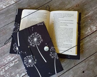 Hands-free book holder, small trade size, black and white dandelion print, juvenile book cover, hide my book, bookworm gift, reading aid