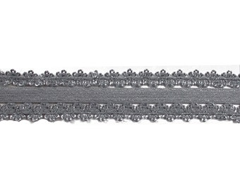 """Gray - 5 Yards Picot Edge - 7/8"""" Stretch Lace Elastic - 7/8-PL-016"""