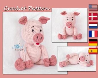 Amigurumi Pattern, Piglet Crochet Pattern, Pink Amigurumi Piggy,  Pig Crochet Tutorial, CP-142