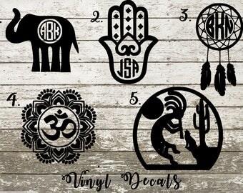 Boho Vinyl Decal Sticker - Monogram - Elephant - Dream Catcher - Hamsa - Om - Yoga - Buddha - Kokopelli - Native American - Fertility Deity