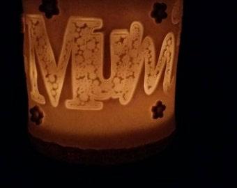 """To order: Porcelain """"Mum"""" candleholder, Christmas for """"Mum"""", handmade in fine Porcelain."""