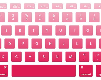 Cherry Pink Ombre MacBook Keyboard Decal Stickers