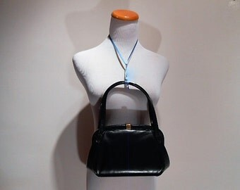 Perfectly Ladylike Mayer Deep Navy Blue Handbag Purse, c. 1960