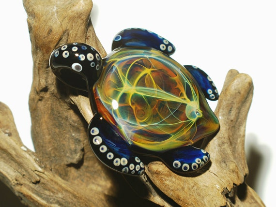 Glass Pendant - Aquatic Jem Turtle - Sea Glass Jewelry - Glass Art - Turtle - Blown Glass - Artist Signed - Details of Pure Silver