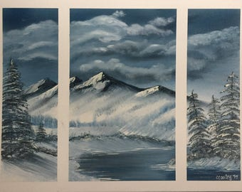 Winter, The River through the Mountains, Original Oil Painting on stretched canvas