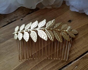 Wedding Hair Comb - Gold Leaves design with gold comb - Style H1855
