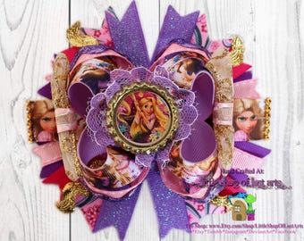 """Inspired by Disney's """"Tangled"""" ready to be shipped rapunzel 5 inch hair bow"""