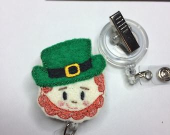 Leprechaun felty badge reel cover-st patricks badge cover-St Patrick's badge cover-st patricks felty-st patricks badge clip-medical badge