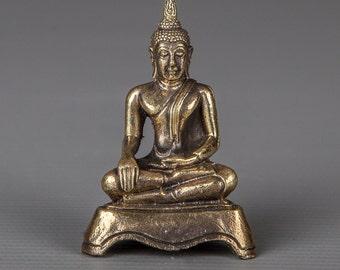 "Unusual Thailand Brass Seated Sukhothai Gautama Buddha Statue - 5cm(2"") Tall"