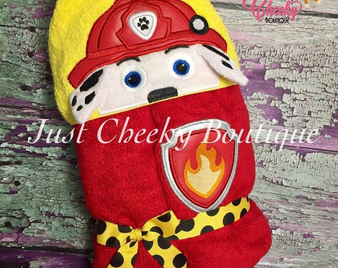 3D Fire Pup Inspired Hooded Towel - Paw Patrol - Marshall