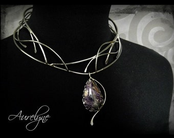 "Stainless steel necklace Diabolique ""The Marquise de Merteuil"" Purple Charoite stone victorian and gothic inspiration"