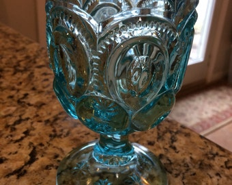 Gorgeous vintage aqua blue goblet. Moon and stars.