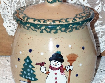 Snowman Green Sponged Stoneware Cookie Jar
