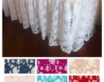 "14"" White lace ruffle Crib Skirt"