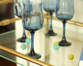 blue wine goblets tall 4 vintage libbey glass retro barware wedding glasses - Libbey Glassware