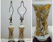 60s Vintage Opaque Glass Gold Leaf Applique Table Lamps  Pair Set