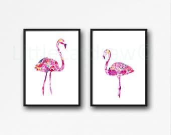 Flamingo Print Set Watercolor Prints Bird Art Illustration Pink Flamingo Beach Home Decor 2 Flamingos Art Prints Unframed Wall Decor