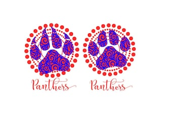 Panthers 2 layers Paw on circle background SVG Png Studio Pdf Eps vinyl cutting file