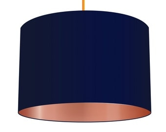 Navy Blue, Linen Fabric, Drum Lampshade With Metallic Copper Effect Lining, Small Lampshade 20cm - Large Lampshade 40cm or Custom Order