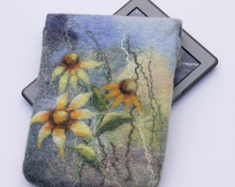 Kindle Voyage Cover, Floral Kindle Paperwhite Case, gadget pouch, blue and green felted e-reader Sleeve, yellow daisy flower, gift  for her