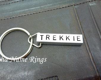 Trekkie must have!! Custom Hand Stamped Aluminum Key Chain. Geek Name