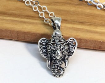 Elephant Necklace Sterling Silver Elephant Ganesh Necklace Ganesha Pendant Filigree Pendant Silver Necklace Lord of Success Talisman
