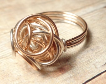 Rose Gold and Silver Ring, Size 4 5 6 7 8 9 10 11 12 13 14, Mixed Metal Jewelry Ring, Quirky Ring, Wire Ring, Silver and Rose Gold Ring