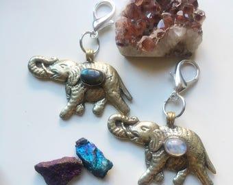Elephant moonstone or labradorite keychain