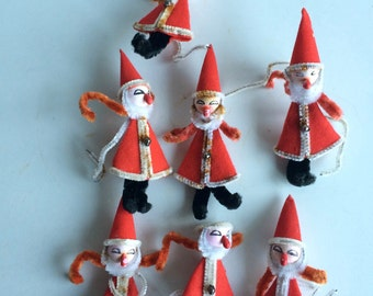 Vintage Christmas Santa Ornaments Decorations Set of 7