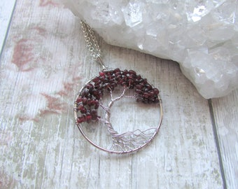 Offset Garnet Gemstone Tree Of Life Pendant Necklace Silver Plated