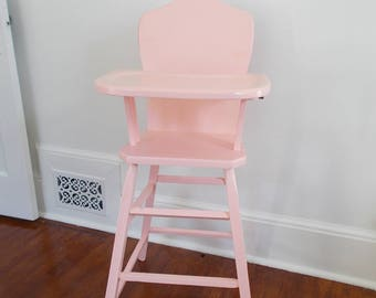 Pink Vintage Wooden High Chair at Ancient of Daze
