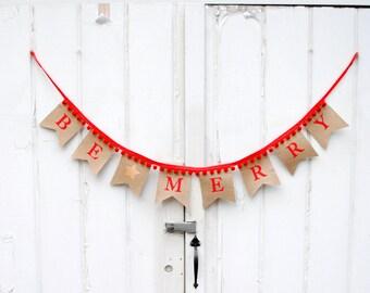 Be Merry Burlap Star Pennant Banner