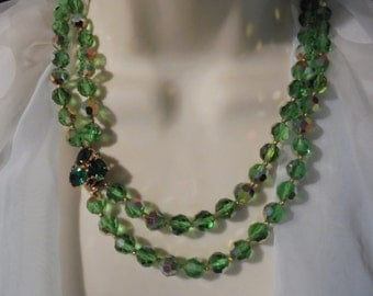 Green  Crystal / Rhinestone  double Strand Beaded Vintage Necklace  free earrings